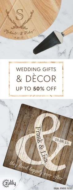 Sign up to shop personalized wedding gifts and decor, up to 50% off. Celebrate the new couple by gifting personalized décor and accessories that commemorate their union. Whether it's something for the wedding day itself or an accent for their happy home, these finds spread the love. Deal ends 11/23.