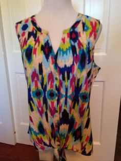 Women's New Direction's Weekend Tie Front Sleeveless Top Size Large | eBay
