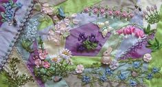 I ❤ crazy quilting . . . Spring Garden in silk- by IvoryBlushRoses
