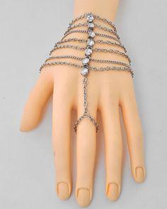 hand chain bracelet rhinstones with free ear fairy cuff  - $19