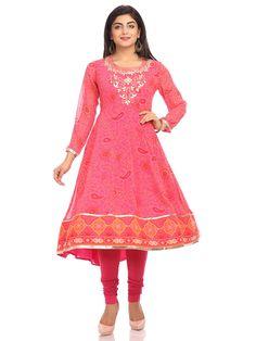 Shop Pink Anarkali Georgette Suit Set online at Biba.in - SKD4443PNK