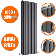 1600 x 590mm Anthracite Double Oval Tube Vertical Radiator