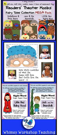 This is a huge set of printable paper masks for the characters in three fairy tales! Just print and laminate, and enjoy! I've bundled them up with three sets of sight words scripts, writing prompts and other literacy ideas! Whimsy Workshop Teaching http://whimsyworkshop.blogspot.ca/