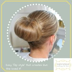 Easy to do, and it looked great on my client. Bridal Hair Buns, Bun Hairstyles, Looks Great, Hair Accessories, Makeup, Easy, Make Up, Wedding Bun, Chignons