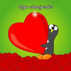 Valentijnskaart pinguïn met hart - Valentijnskaarten - Kaartje2go