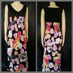 Floral Maxi Stretchy, cotton bodice with all around elastic under bust. Cute V-neck. Last pic shows the back. Model is wearing size Large. Request listing for S M or L Dresses Maxi