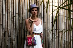 MADAME MELON , NEW COLLECTION SPRING-SUMMER 2017 ethical fashion, handmade necklace and handbag with handwoven textiles from argentina and leather. sac à main HUMAHUACA cuir et ancien PUYO  tissé à la main par une coopérative de femmes argentines