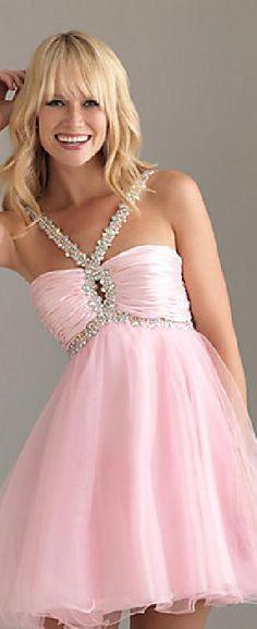 Embellished Baby doll Natural Organza Pink Halter Prom Dresses In Stock klkdresses16542xdf #longdress #promdress