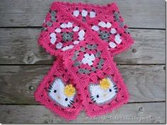 Hello Kitty Scarf: This pattern is for a crocheted Hello Kitty Granny Square Scarf as shown above – a scarf with a Hello Kitty Granny Square at each end and seven regular granny squares in between (four with white at the center, three with grey). The sc