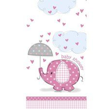 Pink Elephant Baby Shower Printed Plastic Tablecover