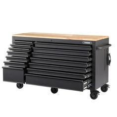 Husky Heavy-Duty 62 in. W 14-Drawer, Deep Tool Chest Mobile Workbench in Matte Black with Adjustable-Height Hardwood Top-HOLC6214BB1MYS - The Home Depot Tool Storage Cabinets, Storage Organization, Husky Tool Box, Mobile Workbench, Soft Close Drawer Slides, Electronic Recycling, Recycling Programs, Work Surface, Innovation Design