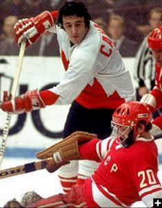 Esposito and Tretiak Boston Bruins Hockey, Women's Hockey, San Jose Sharks, Vancouver Canucks, Montreal Canadiens, Hockey Highlights, Canada Cup, Hockey Boards, Nascar