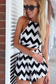 Stripe Backless Sleeveless Tank Top + Shorts
