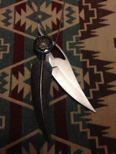 Pluma grande plegable cuchillo collar por LowlifeKnives en Etsy