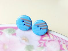 Cornflower Blue Glass Earrings, Button Stud Earrings From Antique Glass Sewing Buttons in Blue with Retro Silver Lines, Button Studs