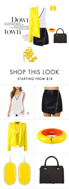 """""""Hello yellow"""" by kate0206 ❤ liked on Polyvore featuring Alexandre Vauthier, Dsquared2, Kendra Scott, Victoria Beckham and Penny Loves Kenny"""