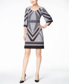 Calvin Klein Geo-Print Bell-Sleeve Jersey Dress $74.99 Swingy bell sleeves add easy movement to a mesmerizing Calvin Klein dress imprinted with a modern geometric design.
