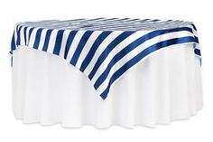 "Stripe 72""x72"" Square Satin Table Overlay - Navy Blue & White"