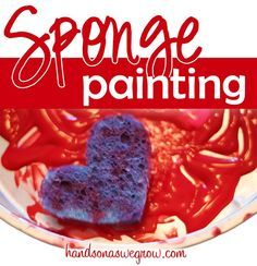 Sponge Art Painting for Valentine's Day