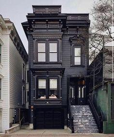 Loft Interior, Black House Exterior, Dark House, Gothic House, House Goals, Historic Homes, Victorian Homes, Exterior Design, Future House