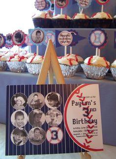Baseball Theme Birthday rows of 4 pics= 12 aunts & uncles Baseball Theme Birthday, Sports Birthday, Baseball Party, 2nd Birthday Parties, Boy Birthday, Birthday Ideas, Sports Party, Birthday Stuff, Themed Parties