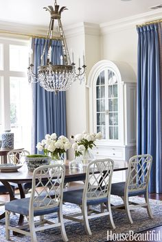 Dining Room blue draperies