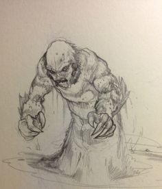 Creature from the Black Lagoon sketch by Eric Pineda.  Graphite in moleskine.  #sketch #creaturefeature #ericpineda