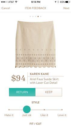 4. Karen Kane Ariel Faux Suede Skirt with Laser Cut Detail