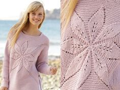 """Morning Star / DROPS 167-4 - Knitted DROPS jumper worked in a square with leaf pattern in """"Paris"""". Size: S - XXXL. - Free pattern by DROPS Design"""
