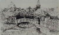 """Gezicht op een bruggetje in het park van de voormalige buitenplaats """"Jeruzalem"""". 1898"""