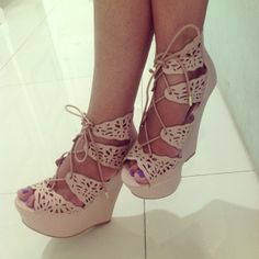 Cute laced up wedges