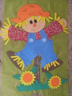 evA NA ESCOLA - Pesquisa Google Autumn Crafts, Fall Crafts For Kids, Autumn Art, Thanksgiving Crafts, Art For Kids, Scarecrow Crafts, Halloween Crafts, Scarecrows, Class Decoration