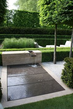 simple fountain you can walk through, gives water sound and look with managed details - Water features in the garden, Fountains outdoor, Backyard water fountains, Small front yard landsca - Small Front Yard Landscaping, Modern Landscaping, Backyard Landscaping, Landscaping Ideas, Modern Water Feature, Backyard Water Feature, Indoor Water Fountains, Garden Fountains, Fountain Garden