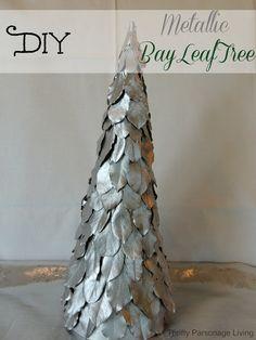 Thrifty Parsonage Living: DIY METALLIC BAY LEAF TREE