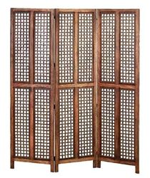 6ft Tall Elegant Hand Carved Wooden Folding Screen