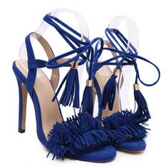 Stiletto Heel Fringed Strap Peep Toe Sandals Shoes