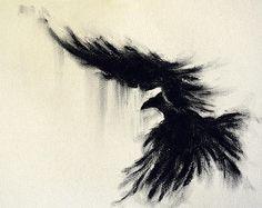 Items similar to Original Charcoal Drawing Crow Art Dark Gothic Large Drawing on Etsy Japanese Drawings, Love Drawings, Easy Drawings, Crow Art, Raven Art, Charcoal Art, Charcoal Drawings, Crows Drawing, Creepy Vintage