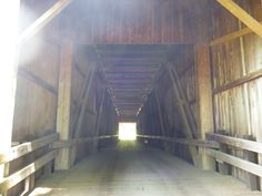 Looking inside the Grays River Covered Bridge.