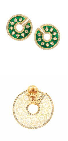 Pair of Indian Gold, Foiled-Back Emerald and Diamond Earrings   The large modified circular earclips centering 18 pear-shaped table-cut diamonds, closed back, within a foiled-back emerald panel, edged by numerous small round diamonds, the reverse decorated with a white enamel and gold floral design, approximately 18.4 dwt.