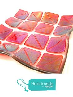 Red Fused Glass Square Plate Gently Curved Swoop Triangles of Iridescent Glass…