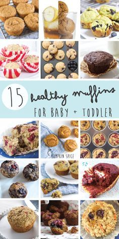 I gathered up 15 of my all-time-favorite Healthy Muffin Recipes for Baby + Toddler and put them all together in one easy to reach place. Filled with different types of fruits, veggies, oats, whole grains and healthy fats these muffins are filled with a Toddler Muffins, Baby Muffins, Toddler Snacks, Mini Muffins, Veggie Muffins, Muffins For Babies, Toddler Dinners, Healthy Muffin Recipes, Baby Food Recipes