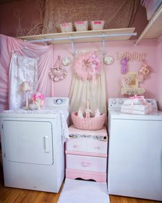 Shabby chic pink and white laundry