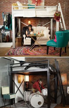 Adult Loft Bed // Increase the functional space in your apartment while making… Dream Rooms, Dream Bedroom, Girls Bedroom, Bedroom Decor, Bedroom Ideas, Bedrooms, My New Room, My Room, Adult Loft Bed