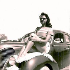 My Grandma Looking Stylish Atop Her Ride, 1950s