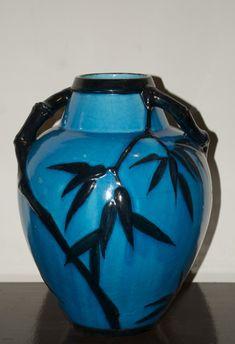 Edmond Lachenal, egyptian blue bamboo vase, circa 1900, 32cm