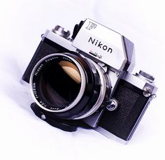 Nikon F with metered prism and Nikkor P 105mm f/2.5 lens... the lens loved by many for portraiture during the '60s and '70s... and still in use today with 35mm film enthusiasts.