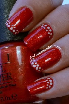 Dotty Nail Design- sparkly red & white