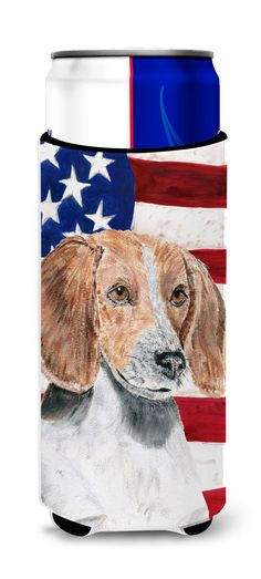 English Foxhound USA American Flag Ultra Beverage Insulators for slim cans