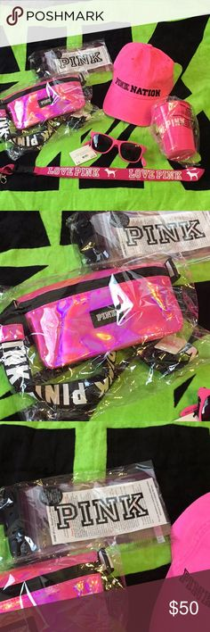 Pink Fanny pack bundle Includes 6 new items: Pink Nation baseball cap, lanyard, sunglasses with bottle openers, water resistant phone pouch, pink iridescent fanny pack, AND a pink cup with pizza floatie. Perfect Spring Break Bundle! PINK Victoria's Secret Accessories Glasses