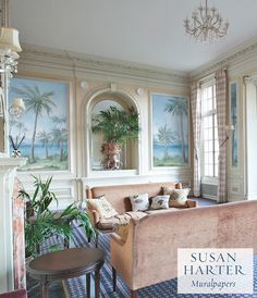 This mural of Palm Beach was handpainted by fine artist Susan Harter, and is the debut tropical wallpaper to her elegant collection of ethereal landscapes. Each mural wallpaper is custom made for our clients, printed on fine canvas wallpaper and printed in Susan's own studio. Living Room Murals, Luxury Wallpaper, Tropical Wallpaper, Hammock In Bedroom, Miami Houses, Luxury Rooms, Apartment Furniture, White Rooms, Awesome Bedrooms